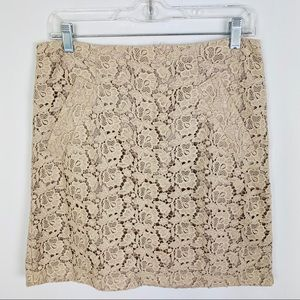 ABS Platinum Lace Pencil Skirt Taupe Tan Size 6